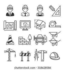 Architecture Construction Building icon set. Vector illustrations.
