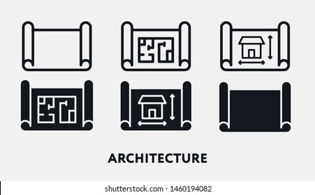 Architecture Construction Engineer Blueprint Roll. Flat Vector Icon Set.