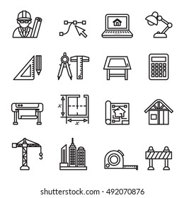 Architecture & Construction icons.Thin Line Style stock vector.