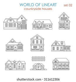 Architecture countryside house townhouse graphical lineart hipster icon set. World of line art collection.