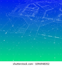 Architecture design: blueprint house plan & blue green technology background, dots, lines, greeds, triangles - vector illustration