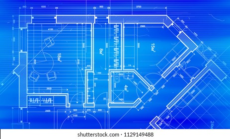 Architecture design: blueprint plan - vector illustration of a plan modern residential building / technology, industry, business concept illustration: real estate, building, construction, architecture