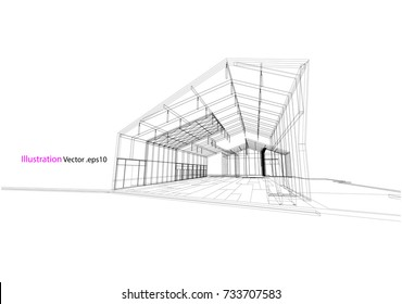 architecture drawing modern structure steel vector