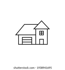 Architecture, front of house icon in flat black line style, isolated on white background