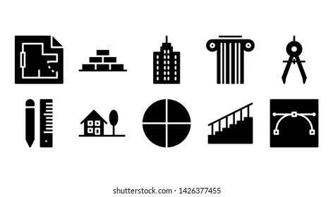 architecture glyph icon symbol set