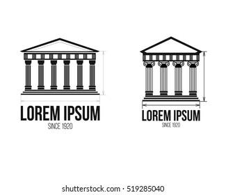Architecture greek building symbol. Ancient monument icon. Logo