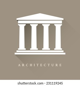 Architecture greek building symbol with shadow on brown background, ancient monument icon
