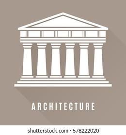 Architecture greek temple icon isolated on brown background. Vector illustration flat architecture design. Building ancient monument symbol icon. Column pillar parthenon landmark. Famous architecture