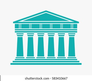 Architecture greek temple icon isolated on white background. Vector illustration flat architecture design. Building ancient monument symbol icon. Column pillar parthenon landmark. Famous architecture
