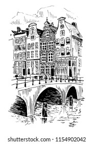 Architecture Houses In Amsterdam Sketch Illustration