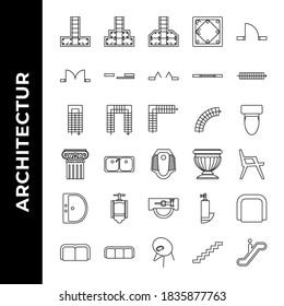 architecture icon set includepad, footing, structure, stepped, sloped, column, concrete, single, door, double, sliding, bifold, window, ventilation, stair, walk, step, u stair, l stair, curved