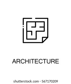 Architecture icon. Single high quality outline symbol for web design or mobile app. Thin line sign for design logo. Black outline pictogram on white background