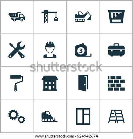 Architecture Icons Set Collection Engineer Digger Stock Vector
