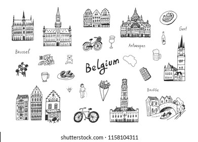 Architecture and icons with symbols of Belgium, hand drawn doodle line illustrations set
