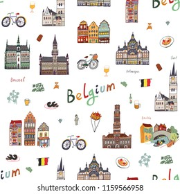 Architecture and icons with symbols of Belgium, hand drawn doodle seamless pattern