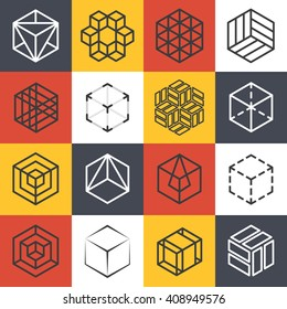 Architecture and interior studios or construction company line logo templates with 3D isometric cubes. Symbol emblem. Vector illustration