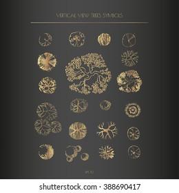 Architecture, landscape design elements - different treetop symbols. Golden line illustration.
