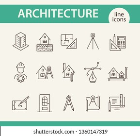Architecture line icon set. Engineer, ruler, compass, blueprint, house. Architecture concept. Can be used for topics like building design, construction, house project