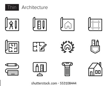 Architecture blueprint icon images stock photos vectors architecture line vector icons set malvernweather Gallery