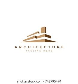 architecture logo building brown, minimalist real estate logo, luxury building logo design template, architecture studio logo template