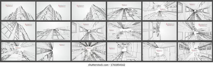 Architecture modern business buildings white grid. building design abstract architecture background vector illustration. construction structure in modern perspective 3d drawing. City office exterior.