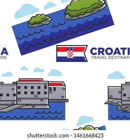 Architecture nature and flag Croatia travel destination seamless pattern vector building and islands in sea national heraldry endless texture Croatian attractions wallpaper print traveling and tourism