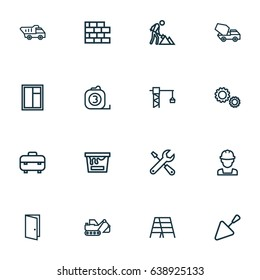 Architecture Outline Icons Set. Collection Of Construction Works, Gear, Tools And Other Elements. Also Includes Symbols Such As Maintenance, Crane, Brick.