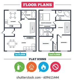 Architecture plan with furniture. House floor plan. Fire flame icons. Fire extinguisher sign. Prohibition stop symbol. Kitchen, lounge and bathroom. Vector