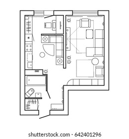 Architecture plan with furniture. House floor plan. Kitchen, lounge and bathroom. Thin line icons set for plan. Interior design, top view. Vector