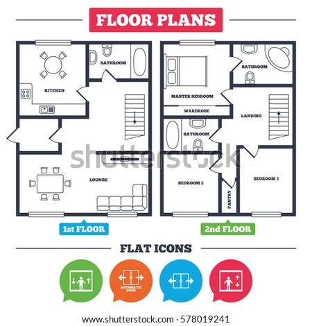 Architecture Plan Furniture House Floor Plan Stock Vector Royalty