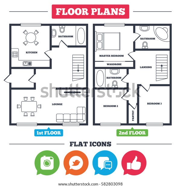 Architecture plan with furniture. House floor plan. Hipster photo camera icon. Like and Chat speech bubble sign. Bird symbol. Kitchen, lounge and bathroom. Vector