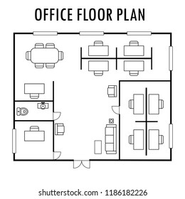 Architecture plan with furniture. Office floor plan, isolated on white background,stock vector illustration