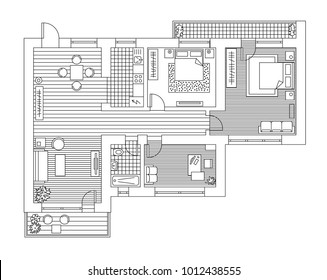 Architecture plan with furniture in top view. Coloring book.