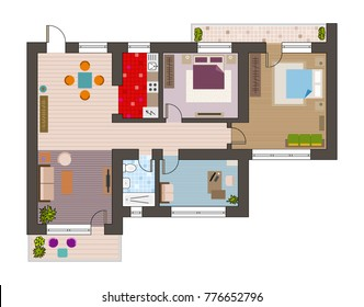 Architecture plan with furniture in top view.