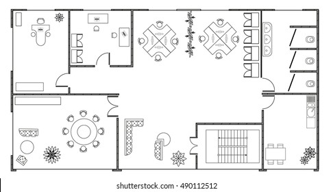 Architecture plan with  a modern furniture in top view. Modern interiors in  small office room. Graphic design elements.