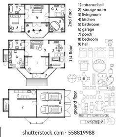 Architecture plan in top view, vector illustration