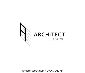 Architecture, planning and design logo template. Modern architect letters  logo design with line art.  Letter A.