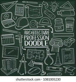 Architecture Profession Doodle Line Icon Chalkboard Sketch Hand Made Vector Art
