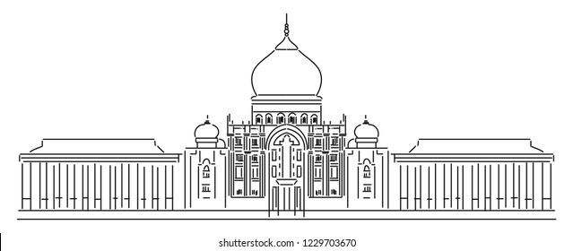Architecture: Putrajaya Malaysia Draw simple lines.