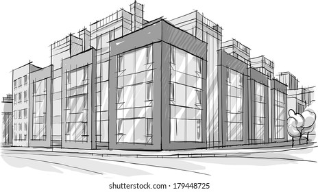 Architecture. Sketch. Drawing of building.City