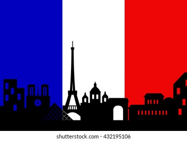 Architecture skyline of France, Silhouette skyline of Paris with French flag ,Vector illustration