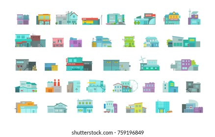 Architecture town buildings big set. City street. Flat stock vector graphics. A lot of various details houses