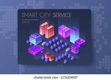 Architecture vector illustration city for business background with isometric skyscraper, urban building, and modern cityscape for town construction map background.