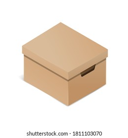 Archive box in 3D - cardboard container for documents in isometric plane - isolated vector illustration