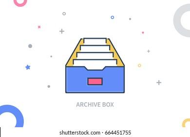 Archive Box Flat Colored Icon