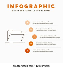 Archive, catalog, directory, files, folder Infographics Template for Website and Presentation. Line Gray icon with Orange infographic style vector illustration