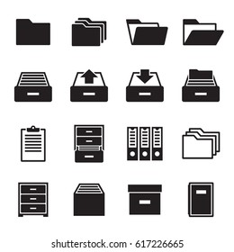 Archive, document icons set. Black on a white background