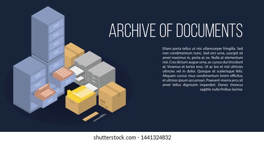 Archive of documents concept banner. Isometric illustration of archive of documents vector concept banner for web design