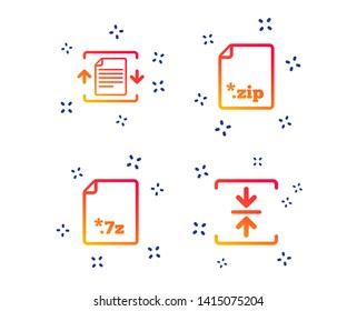 Archive file icons. Compressed zipped document signs. Data compression symbols. Random dynamic shapes. Gradient document icon. Vector