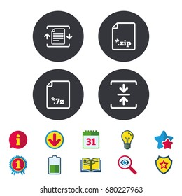 Archive file icons. Compressed zipped document signs. Data compression symbols. Calendar, Information and Download signs. Stars, Award and Book icons. Light bulb, Shield and Search. Vector